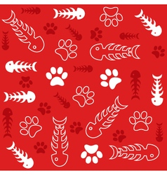 fishbones and cats paws background vector image