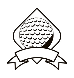 Gray scale golf tournament emblem with ball vector