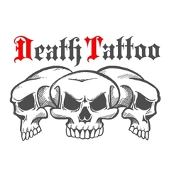 Group of skulls for death tattoo vector image
