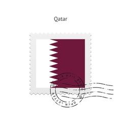Qatar flag postage stamp vector