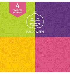 Thin Line Halloween Holiday Patterns Set vector image vector image