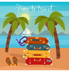 Tropical Vacation Travel Baggage Beach Vacation vector image