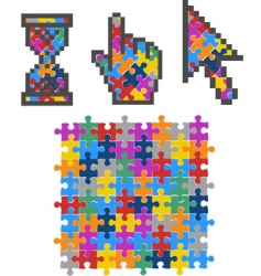 vibrant color puzzles vector image vector image