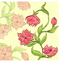 background with handdrawn flower vector image vector image