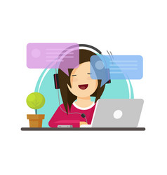 happy girl working on computer on work desk font vector image