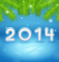 Ice and Christmas tree branch background 2014 vector image vector image
