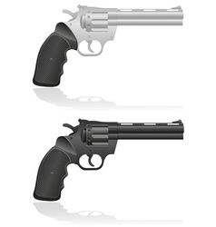 silver and black revolvers vector image vector image