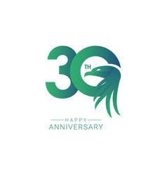 30 th anniversary bird model template design vector