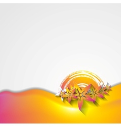 Abstract wavy colorful flowers design vector image