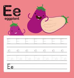 alphabet e worksheet learning english vocabulary vector image