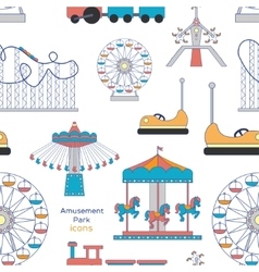 Amusement Park icons pattern vector image