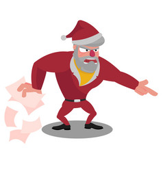 angry santa spreads the wrapping paper and points vector image