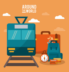 Around the world train railway clock luggage vector