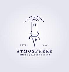 Atmosphere logo rocket line art simple design vector