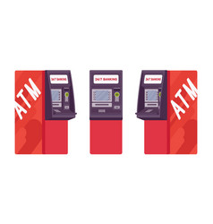 Automated teller machine in red color vector