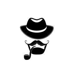 bearded man with a hat and a pipe detective vector image