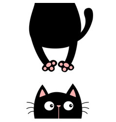 black cat funny face head silhouette hanging fat vector image