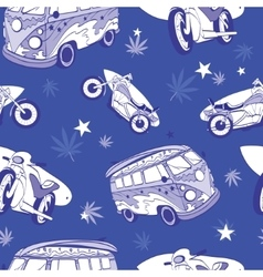 Blue Surfboards On Hippie Bus Motorcylces vector image