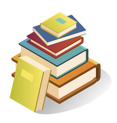book stack large bright collection for school or vector image