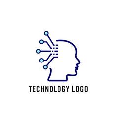 brain technology logo vector image