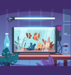 Cartoon aquarium room interior glass tank vector