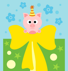cartoon background card with funny pig vector image