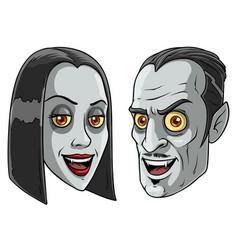 cartoon halloween vampire men and women character vector image