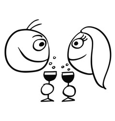 cartoon of man and woman drinking champagne vector image