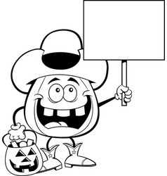 cartoon pumpkin dressed as a cowboy holding a sign vector image