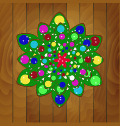christmas tree of cookies with green glaze vector image