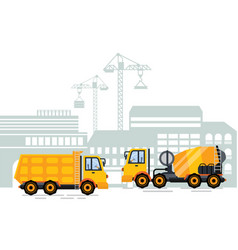 cityscape city construction and building machinery vector image