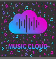 cloud music library audio and music streaming vector image