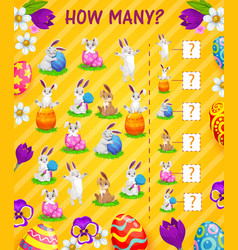 Counting kids game how many easter eggs bunnies vector
