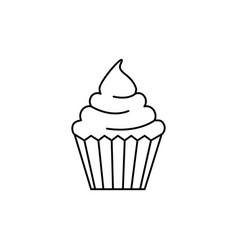 cream cupcake line icon sign vector image
