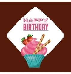 Cupcake icon Happy Birthday design vector