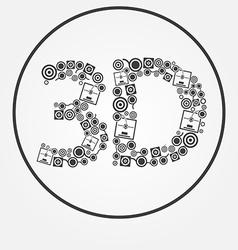 Dark 3d printer text icon vector