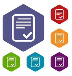 Document rhombus icons vector