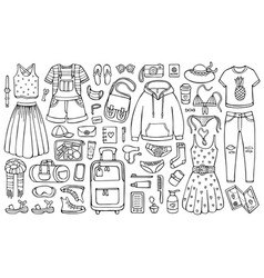 Doodle set clothes and stuff for traveling vector