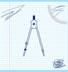 Drawing compass line sketch icon isolated on white vector