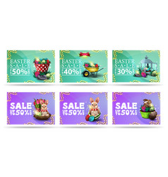 easter sale collection discount banners in vector image