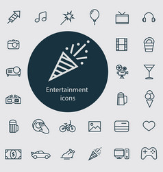 entertainment outline thin flat digital icon vector image