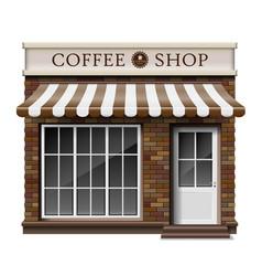 Exterior coffee boutique shop or cafe brick vector