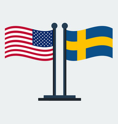 Flag of united states and sweden flag stand vector