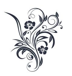 floral branch black flat decoration vector image