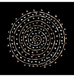 Floral spiral ornament golden sketch for your vector image vector image
