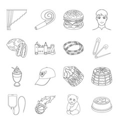 Food sport atelier and other web icon in outline vector