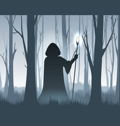 Forest wizard silhouette vector