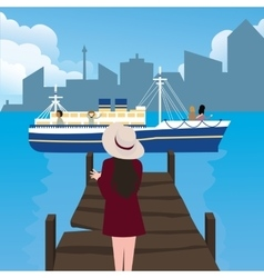 Girl woman waiting in harbor port alone ship vector