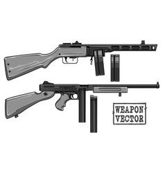 Graphic retro submachine gun with ammo clip vector