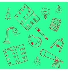 Green backgrounds education school doodles vector